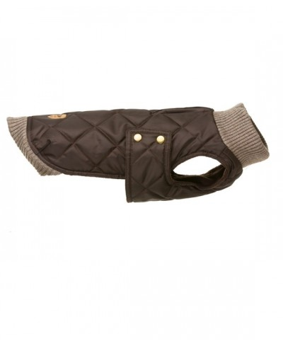 Chocolate brown quilted waterproof parka with knit turtle-neck – Simon Choco