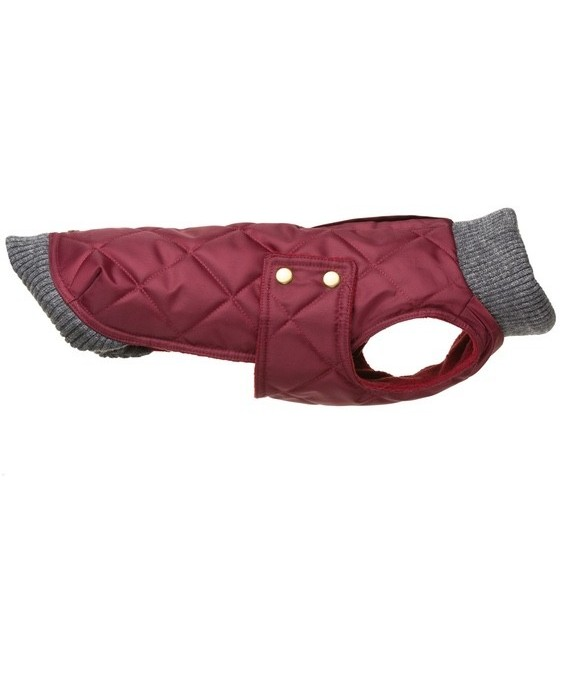 Maroon waterproof coat with knit collar- Simon Wine