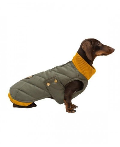 Olive waterproof  coat with knit collar- Simon Olive