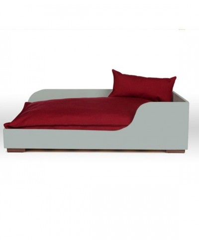 "Grey wooden bed. Cushion ""Lisos"""